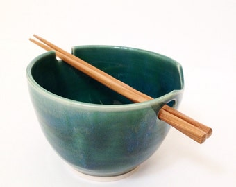 Forest Green - Wheel Thrown Noodle Bowl - Made To Order