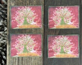 Batik Tree on a Hill Fabric Print Patches - Set of Four