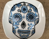 Black and blue Porcelain Hand Painted sugar skull Plate for Birthday Special Occasion Wedding or Engagement Gift Made to order