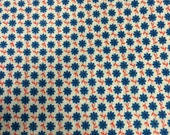 Red, White, and Blue Vintage Floral Printed Cotton - 3 3/4 Yards