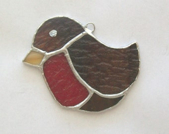 Baby robin ornament stained glass robin suncatcher or ornament