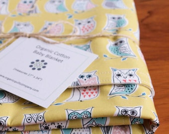 Yellow Baby Blanket; Owl Baby Blanket; Receiving Blanket Gift; Soft Cozy Organic Cotton Blanket; Eco Friendly Baby Shower Gift; Hootenanny