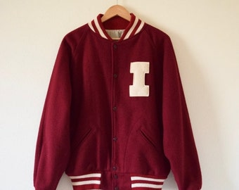 SUMMER SALE / 20% off Vintage 60s 70s Maroon Letterman Jacket (size large, xl)