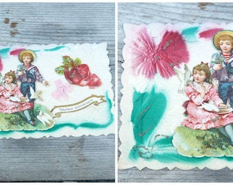 Antique 1900s  Happy birthday french embossed and die cut  postcard  children, roses,doves
