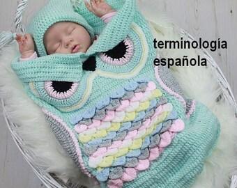 Patrón ganchillo para capullo búho & sombrero del bebé U.K, U.S.A, Español  PDF 245 Digital Download