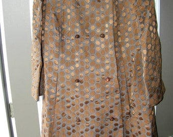 Vintage Mary Valenti Chicago Coat Dress Brown Gray Brocade Size 16 12435 Bling