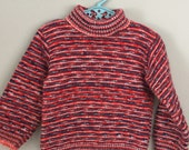 70s 80s Red and Blue Pullover Knit Sweater 3t 4t