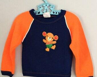 80s Neon Orange and Navy Blue Teddy Bear Sweatshirt 12- 24 months