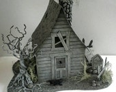 RESERVED for Chris Ok2La.....Lighted Handmade Putz House Tombstones Emerson Thoreau Graveyard Miniature Mini House OOAK