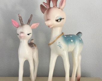 Two Vintage 60s 70s Plastic Reindeer