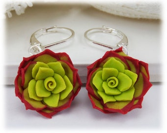 Red Succulent Dangle Earrings - Red Succulent Drop Earrings