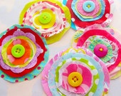 Fabric Flower Embellishments with Button Centers Set