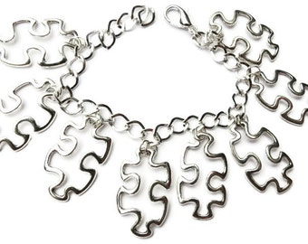 Jigsaw pieces silver tone charm bracelet choice of lengths from 19 -21 cm