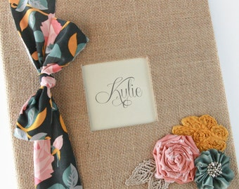 "Burlap Baby Memory Book,  Floral Fabric Ribbon, ""Bow and Arrow"""