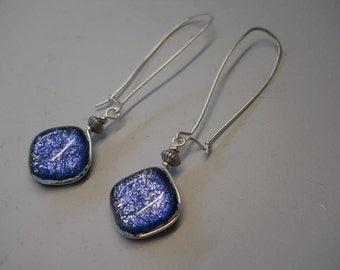 Spring Earrings, Periwinkle Earrings, Denim Blue Glass Earrings, Silver Wire Wrap Earrings, Long Dangle Earrings