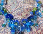 Handmade By Susan Every OOAK Ocean Color Beaded Necklace, Ships Worldwide