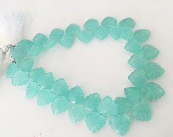 Gorgeous aqua chalcedony carved leaves