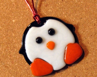 Fused Glass Penguin Ornament - Holiday Ornament - Christmas Ornament - Glass Penguin