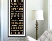 Denver Colorado Neighborhoods typography unframed giclee archival print by Stephen Fowler