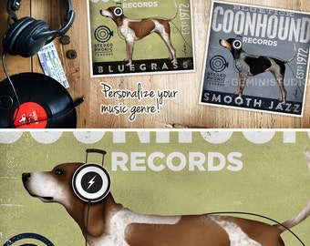 Redtick Coonhound dog records graphic art giclee archival print  by stephen fowler Pick A Size