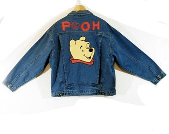 Vintage POOH Denim Jacket, 90s Levi Jacket with Appliques, Four Pocket, Large Size Woman's