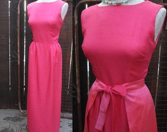 50s Vintage dress Pink Silk party dress Long 50s Evening dress Pink 50s Sheath Dress with Overskirt B. Altman Vintage pleated overskirt S