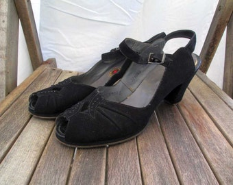 40s Black Shoes Peep Toe vintage Black Suede peeptoe 1940s black suede shoes vintage 40s slingbacks 7