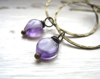 Amethyst Earrings, Amethyst Antiqued Brass Hoop Dangle Drop Earrings, Handmade Amethyst Jewelry, Gemstone Jewelry, Birthstone Earrings