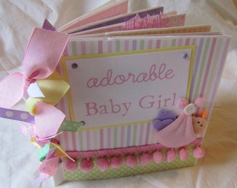 adorable BABY GIRL PaPeR BaG Premade Scrapbook Album -- soft & sweet -- also available in blue for BaBy BoY