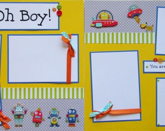 OH BOY 12x12 Premade Scrapbook Pages RoBoTS