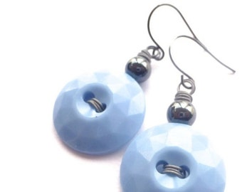 ON SALE Faceted Vintage Button Earrings - Pastel Blue and Gray