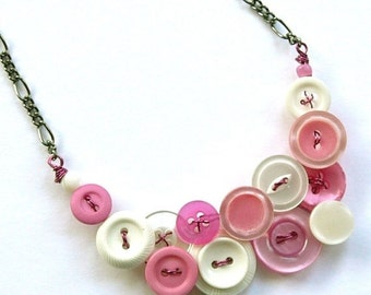 Gift Sale Necklace in Pink and White Vintage Button Jewelry