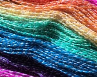 Neon Rainbows handspun Merino wool and cashmere laceweight yarn