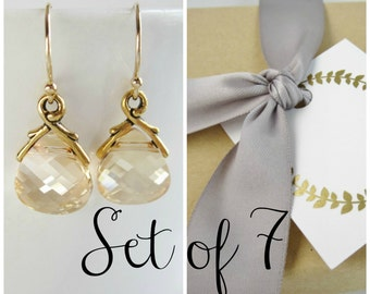 Gold bridesmaid earrings set of 7, bridesmaid jewelry set, Swarovski crystal earrings, champagne crystal earrings, antiqued gold earrings