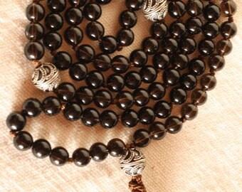 Smokey Quartz Buddhist Prayer Beads Mala Beads Sterling Silver Tassel Necklace Rosario Yoga Jewelry Rosary Brown Japa Mala Silver Smokey