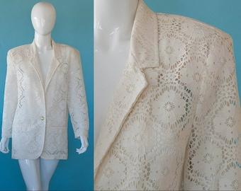 80s Vintage Cream White EYELET Peek-a-boo Blazer Jacket S to M