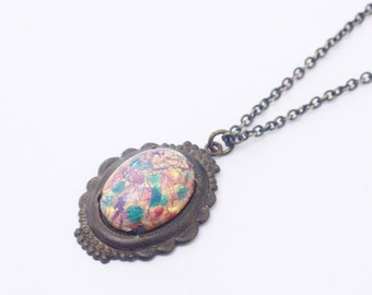 Opal necklace Victorian style vintage glass jewel gothic oxidized fire opal brass pendant October birthstone