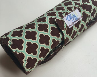 Baby gender neutral changing pad brown roll up boy girl ready to ship item