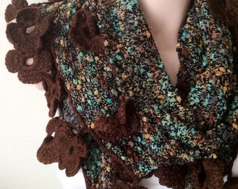 Handmade Crochet Brown Flower Lace Trimmed Scarf, Triangle Knitted Fabirc Shawl