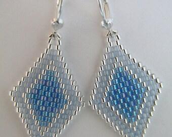 Seed Bead Earrings - Light Sapphire Blue