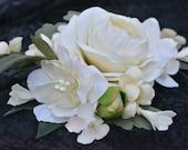 Bridal Hair Comb, Bridal Hair Clip, White Rose Clip, Bridal Hair Piece, Bridal Hair Flower, Hair Accessory, Flower Hair Clip,