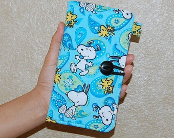 iPhone 6 / Samsung Galaxy S5 - Cell Phone Credit Card Wallet Organizer - Handcrafted from Snoopy and Woodstock in Paisley Fabric