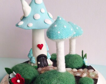 READY TO SHIP Fairy Gnome Mushroom Home Sculpture Pincushion