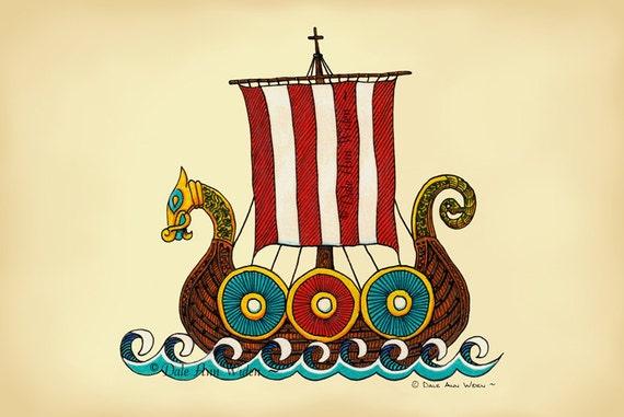 Viking Ship -  Scandinavian - Nordic Dragon - Fine Art Print - 5x7