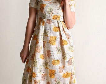 ON SALE Vintage 1950s Dress - Floral Atomic Lorax Starburst Novelty Print Autumn Tone 1960s Dress - Small XS