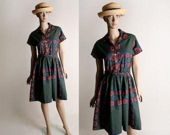 Vintage 1950s Border Print Floral Dress - Cotton Shirtwaist Day Dress - Medium