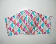 Fabric Surgical Face Mask in Geometric Triangles