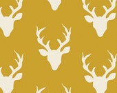 Hello Bear fabric, Deer Fabric by Bonnie Christine for Art Gallery Fabrics, Yellow fabric- Woodland Animal, Buck Forest in Mustard