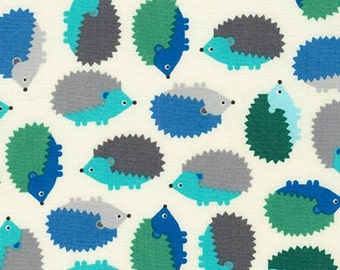 Hedgehog Fabric, Fabric by the Yard, Blue fabric, Woodland Pals fabric  by Ann Kelle for Robert Kaufman, Hedgehogs in Adventure Blue