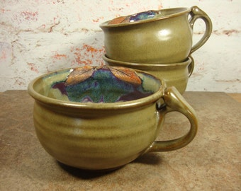 Soup Bowl with Handle and Sage leaves - Olive and Purple Stoneware